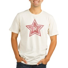 Red-Star-Faded-Blk Organic Men's Fitted T-Shirt
