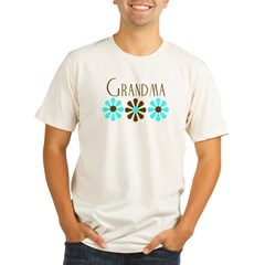 Grandma - Blue/Brown Flowers Organic Men's Fitted T-Shirt