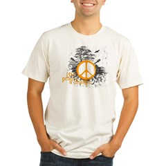 give_peace_scene_orange_dark Organic Men's Fitted T-Shirt
