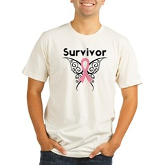 TribalButterflyBreastCancer Organic Men's Fitted T-Shirt