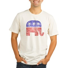 2-RepublicanLogoTexturedGreyBackgroundFadedTs Organic Men's Fitted T-Shirt