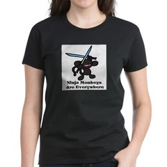 Black Ninja Monkey Overhead w Women's Dark T-Shirt