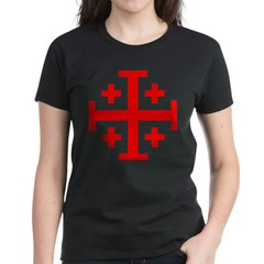 Crusaders Cross (Red) Women's Dark T-Shirt