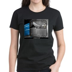 Space Women's V-Neck Black T-Shirt w/LIFEBOAT.COM Women's Dark T-Shirt