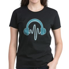 Blue Headphones Maternity Tee (Dark) Women's Dark T-Shirt