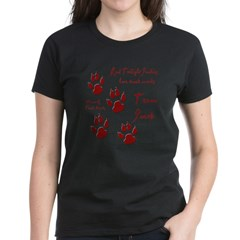 "Twilight Junkies ""Werewolf Tracks"" Women's Dark T-Shirt"