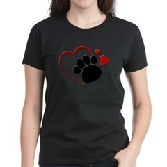 Dog Paw Print with Love Hear Women's Dark T-Shirt