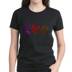 Peace, Love, Rescue Women's Dark T-Shirt