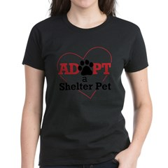 Adopt a Shelter Pet Womens PlusSz Scoop Neck Shirt Women's Dark T-Shirt