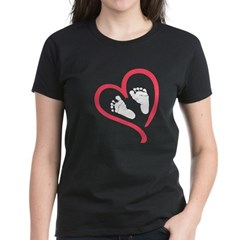 baby feet heart Women's Dark T-Shirt