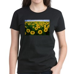 Sunflowers in field Women's Dark T-Shirt