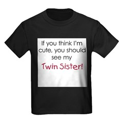 Cute Twin Sister - Kids Dark T-Shirt