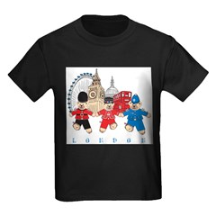 Teddy Holding Hands Kids Dark T-Shirt