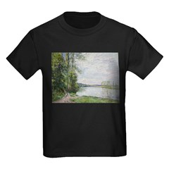 The Riverside Road from Veneux to Thomery by Alfre Kids Dark T-Shirt