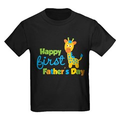 Giraffe 1st Fathers Day Kids Dark T-Shirt