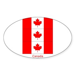 Flag of Canada Stickers 3pc Sticker (Oval 10 pk)
