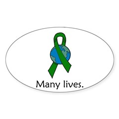 One Person. Many Lives. Oval Sticker (Oval 10 pk)