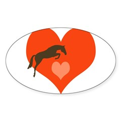horse hearts Oval Sticker (Oval 10 pk)
