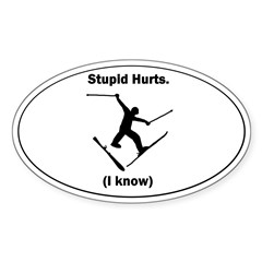 Skiing Stupid Hurts Oval Sticker (Oval 10 pk)