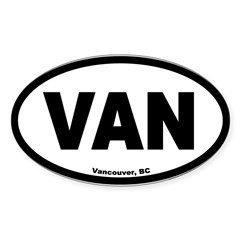 Vancouver British Columbia VAN Euro Oval Sticker (Oval 10 pk)