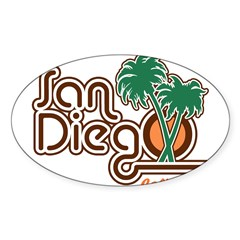 San Diego California Rectangle Sticker (Oval 10 pk)