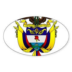 Colombian Coat of Arms Oval Sticker (Oval 10 pk)