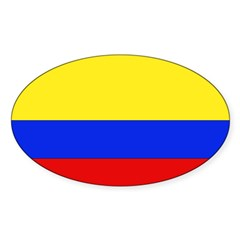 Colombian Flag Rectangle Sticker (Oval 10 pk)