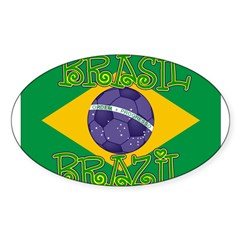 Brazil soccer Rectangle Sticker (Oval 10 pk)
