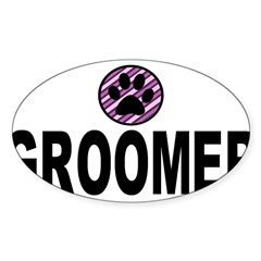 Groomer Purple Stripes Rectangle Sticker (Oval 10 pk)