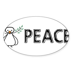 White Dove Peace Sticker (Oval 10 pk)