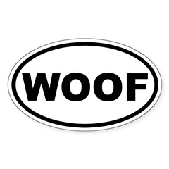 Woof Oval Sticker (Oval 10 pk)