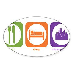 Eat Sleep Urban Rectangle Sticker (Oval 10 pk)