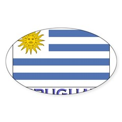 Uruguay Flag Gear Rectangle Sticker (Oval 10 pk)