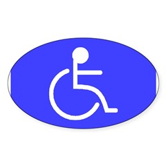 """Disabled"" Rectangle Sticker (Oval 10 pk)"