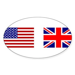 USA & Union Jack Rectangle Sticker (Oval 10 pk)