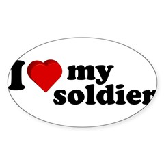 I Love My Soldier Rectangle Sticker (Oval 10 pk)