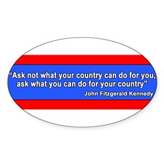 JFK Inaugural Quote Sticker (Oval 10 pk)