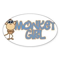 Monkey Girl Oval Sticker (Oval 10 pk)