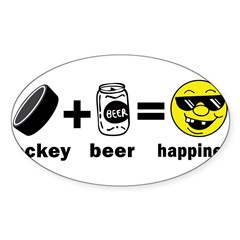 Funny Hockey Rectangle Sticker (Oval 10 pk)