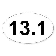 Half Marathon 13.1 White Oval Sticker (Oval 10 pk)