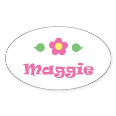 "Pink Daisy - ""Maggie"" Rectangle Sticker (Oval 10 pk)"