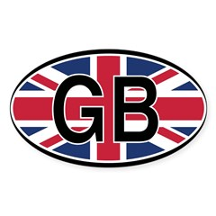 Great Britain Euro Oval Sticker (Oval 10 pk)