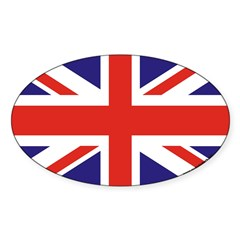 British Flag Euro Oval Sticker (Oval 10 pk)