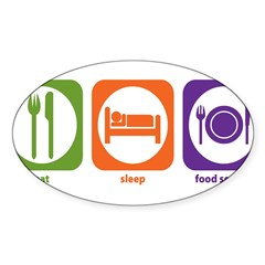 Eat Sleep Food Service Rectangle Sticker (Oval 10 pk)