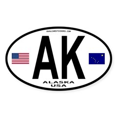 Alaska Sticker Euro Style (Oval) Sticker (Oval 10 pk)