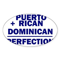 Dominican + Puerto Rican Rectangle Sticker (Oval 10 pk)