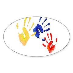Colombian hands Sticker (Oval 10 pk)