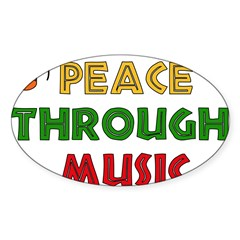 Peace Through Music Rectangle Sticker (Oval 10 pk)