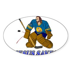 Jesus Saves (Hockey Goalie) Rectangle Sticker (Oval 10 pk)