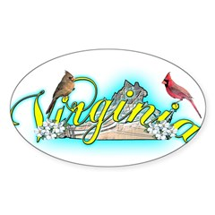 Virginia Rectangle Sticker (Oval 10 pk)